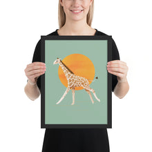 Load image into Gallery viewer, Giraffe and Sun | Illustration | Green | Framed Poster-framed posters-Black-12×16-Eggenland