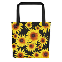 Load image into Gallery viewer, Blooming Flowers | Black | Tote Bag-tote bags-Black-Eggenland