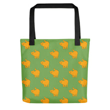 Load image into Gallery viewer, Yellow Cat Pattern | Green | Tote Bag-tote bags-Black-Eggenland