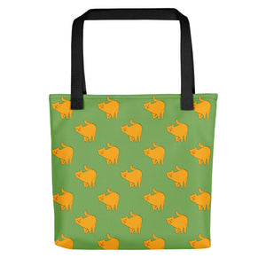 Yellow Cat Pattern | Green | Tote Bag-tote bags-Black-Eggenland