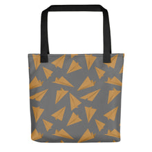 Load image into Gallery viewer, Paper Planes Pattern | Grey and Golden | Tote Bag-tote bags-Black-Eggenland