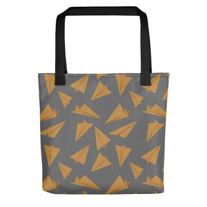 Paper Planes Pattern | Grey and Golden | Tote Bag-tote bags-Black-Eggenland