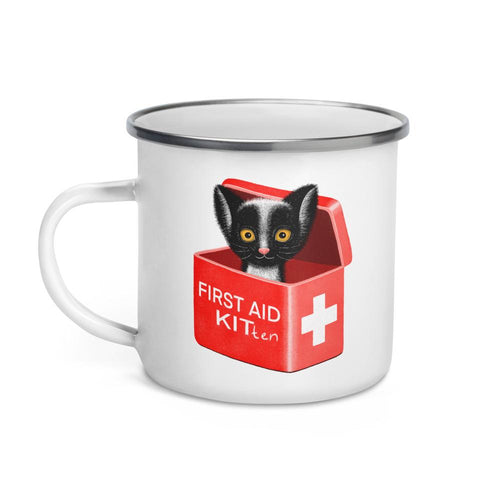 First Aid Kitten | Illustration | Enamel Mug-enamel mugs-Eggenland