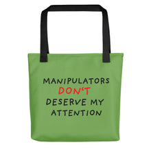 Load image into Gallery viewer, No Attention to Manipulators | Green | Tote Bag-tote bags-Black-Eggenland