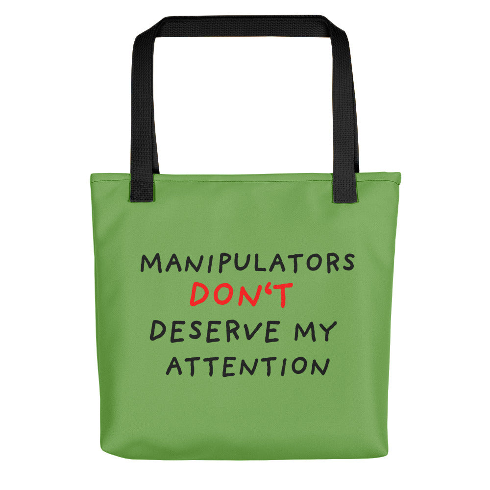 No Attention to Manipulators | Green | Tote Bag-tote bags-Black-Eggenland