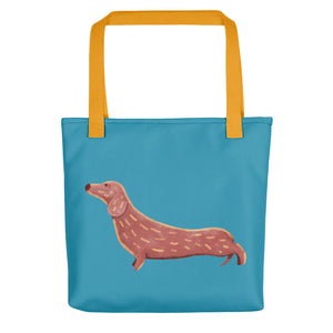 Cute Dachshund Dog | Blue | Tote Bag-tote bags-Yellow-Eggenland