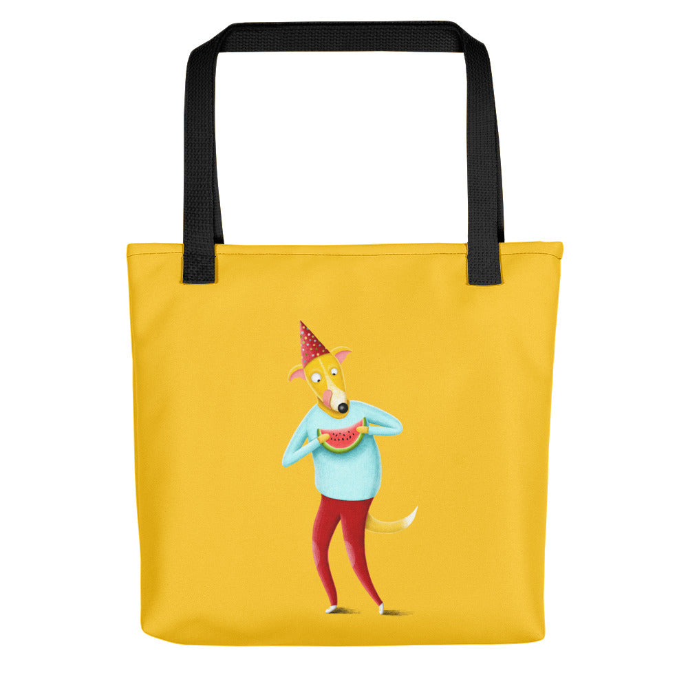 Dog with Watermelon | Yellow | Tote Bag-tote bags-Black-Eggenland