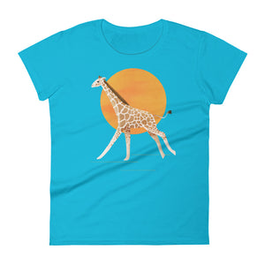 Giraffe and Sun | Women's Short-Sleeve T-Shirt-t-shirts-Caribbean Blue-S-Eggenland