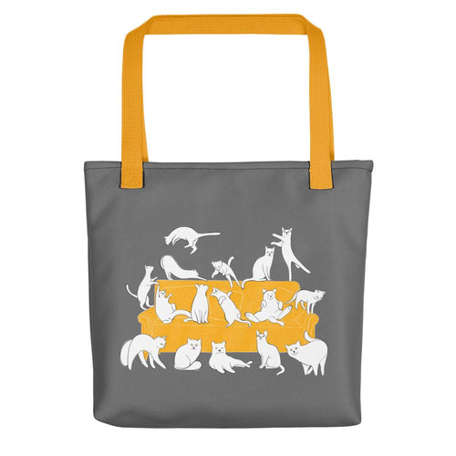 Cats Party | Grey | Tote Bag-tote bags-Yellow-Eggenland