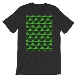 Paper Hats Pattern | Green | Short-Sleeve Unisex T-Shirt-t-shirts-Dark Grey Heather-S-Eggenland