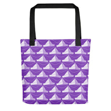 Load image into Gallery viewer, Newspaper Hats Pattern | Violet | Tote Bag-tote bags-Black-Eggenland