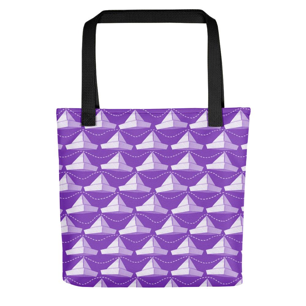 Newspaper Hats Pattern | Violet | Tote Bag-tote bags-Black-Eggenland