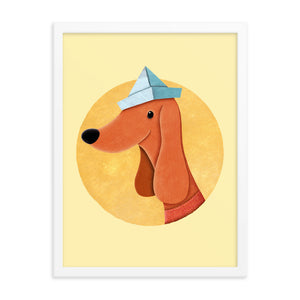 Dog With Newspaper Hat | Yellow | Illustration | Framed Poster-framed posters-Eggenland