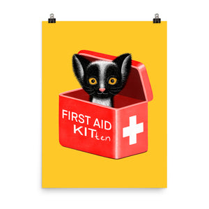 First Aid Kitten | Illustration | Yellow | Poster-posters-Eggenland