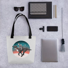 Load image into Gallery viewer, Together We Are Faster | Dog, Cat and Mouse | Light Grey | Tote Bag-tote bags-Eggenland