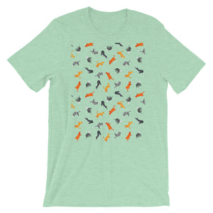 Funky Cats Pattern | Short-Sleeve Unisex T-Shirt-t-shirts-Heather Prism Mint-S-Eggenland