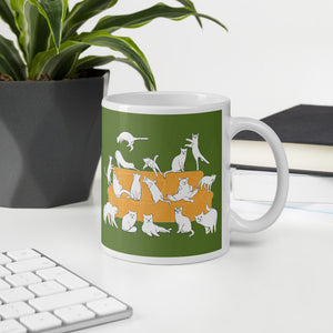 Cats Party | Green | Mug-mugs-Eggenland