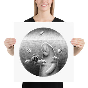 Dugongs Can Hold Their Breath For 6 Minutes | Illustration | Poster-posters-18×18-Eggenland