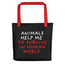 Load image into Gallery viewer, Animals Help Me | Black | Tote Bag-tote bags-Red-Eggenland