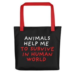 Animals Help Me | Black | Tote Bag-tote bags-Red-Eggenland