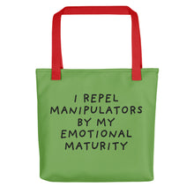 Load image into Gallery viewer, Emotional Maturity | Green | Tote Bag-tote bags-Red-Eggenland