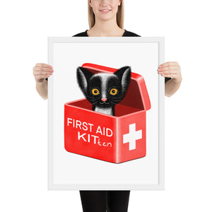First Aid Kitten | Illustration | Framed Poster-framed posters-White-18×24-Eggenland