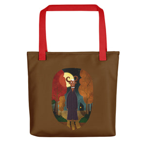 Deer Creature at Night | Brown | Tote Bag-tote bags-Red-Eggenland