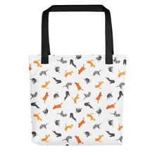 Load image into Gallery viewer, Funky Cats Pattern | White | Tote Bag-tote bags-Black-Eggenland