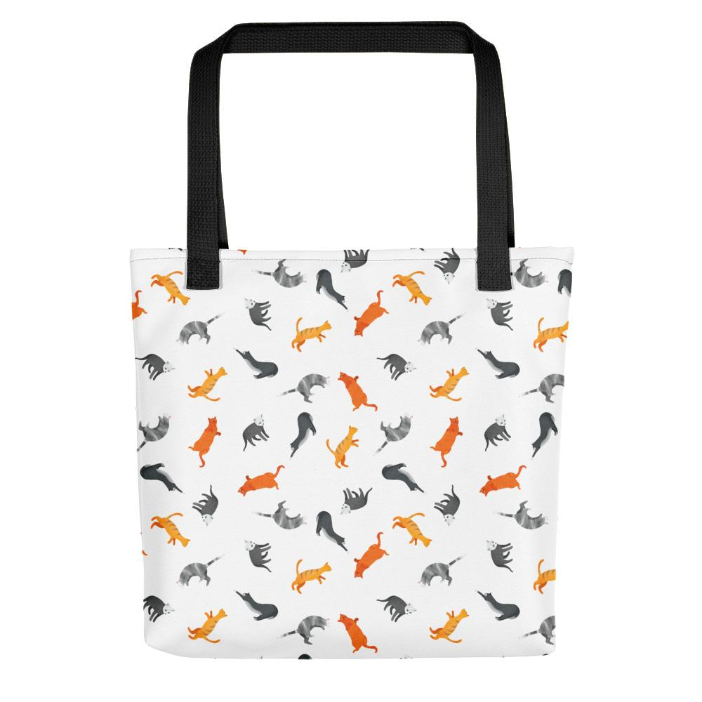 Funky Cats Pattern | White | Tote Bag-tote bags-Black-Eggenland