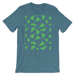 Paper Planes Pattern | Green | Short-Sleeve Unisex T-Shirt-t-shirts-Heather Deep Teal-S-Eggenland