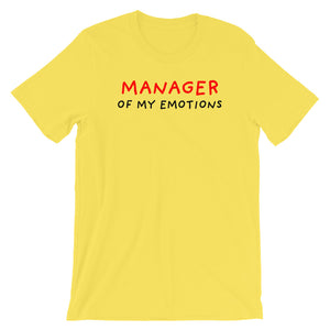 Manager of My Emotions | Short-Sleeve Unisex T-Shirt-t-shirts-Yellow-S-Eggenland