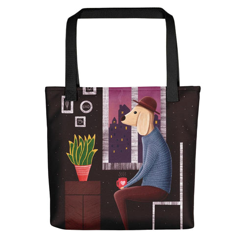 Charlie Waiting for Love | Dog Illustration | Tote Bag-tote bags-Black-Eggenland