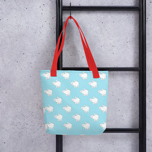 Cute Cat Pattern | Light Blue and White | Tote Bag-tote bags-Eggenland