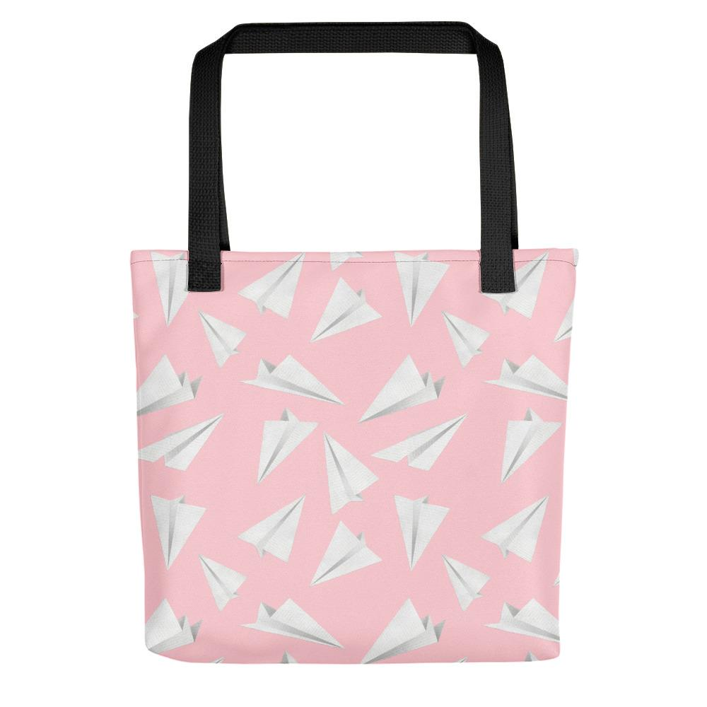 Paper Planes Pattern | Pink and White | Tote Bag-tote bags-Black-Eggenland
