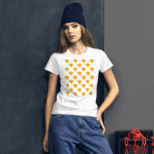 Cute Yellow Cat Pattern | Women's Short-Sleeve T-Shirt-t-shirts-Eggenland