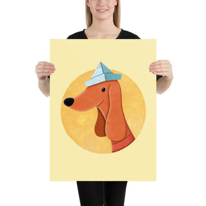 Dog with Newspaper Hat | Yellow | Poster-posters-Eggenland