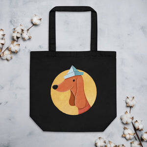 Dog With Newspaper Hat | Eco Tote Bag-tote bags-Black-Eggenland