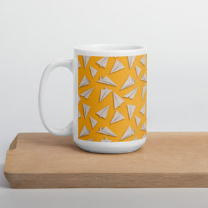Paper Planes Pattern | Yellow | Mug-mugs-15oz-Eggenland