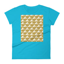 Load image into Gallery viewer, Paper Hats Pattern | Golden | Women's Short-Sleeve T-Shirt-t-shirts-Caribbean Blue-S-Eggenland
