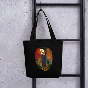 Deer Creature at Night | Black | Tote Bag-tote bags-Eggenland