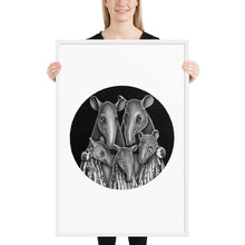Load image into Gallery viewer, Tapir Family | Illustration | Framed Poster-framed posters-White-24×36-Eggenland