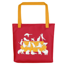 Load image into Gallery viewer, Cats Party | Red | Tote Bag-tote bags-Yellow-Eggenland