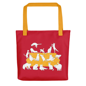 Cats Party | Red | Tote Bag-tote bags-Yellow-Eggenland