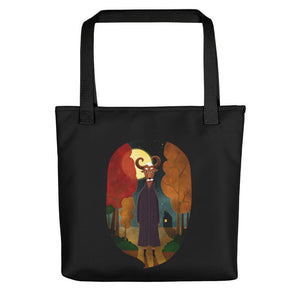 Deer Creature at Night | Black | Tote Bag-tote bags-Black-Eggenland