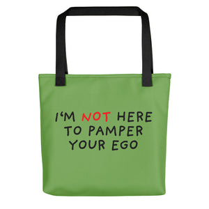 No Ego Pampering | Green | Tote Bag-tote bags-Black-Eggenland