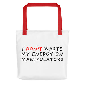 Don't Waste Energy | Tote Bag-tote bags-Red-Eggenland