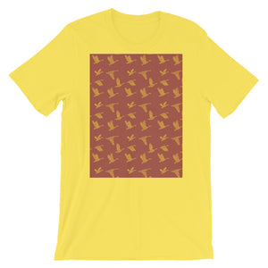 Flying Birds Pattern | Red | Short-Sleeve Unisex T-Shirt-t-shirts-Yellow-S-Eggenland