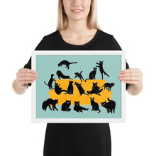 Load image into Gallery viewer, Black Cats Party | Blue | Illustration | Framed Poster-framed posters-White-12×16-Eggenland