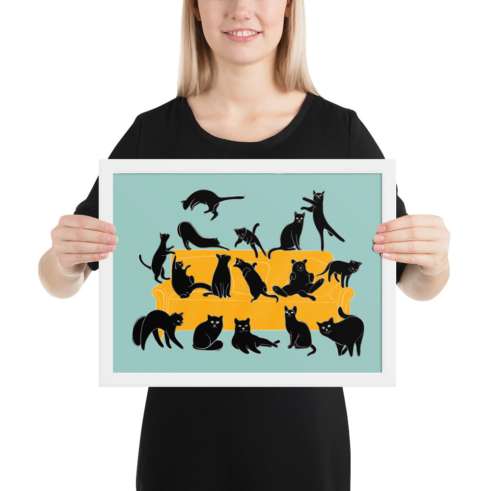 Black Cats Party | Blue | Illustration | Framed Poster-framed posters-White-12×16-Eggenland