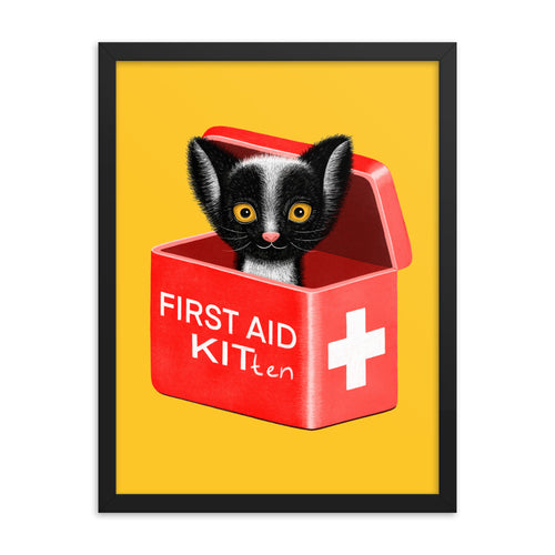 First Aid Kitten | Illustration | Yellow | Framed Posters-framed posters-Eggenland